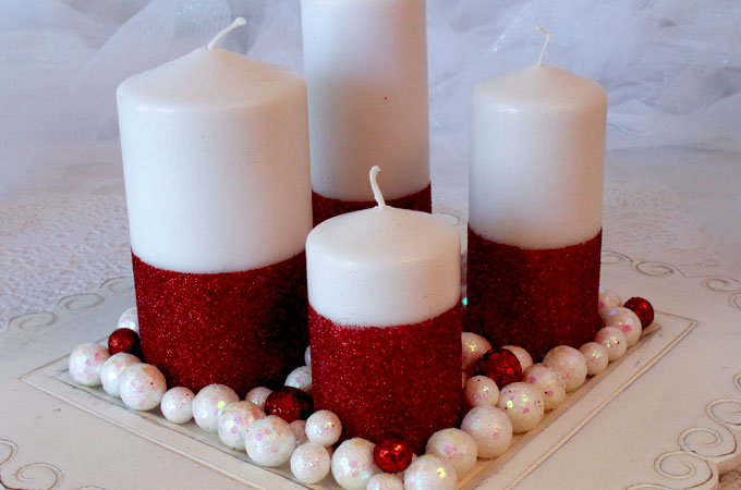 Very best Glitter Candles - Easy DIY Christmas Decorations - Two Sisters IR11