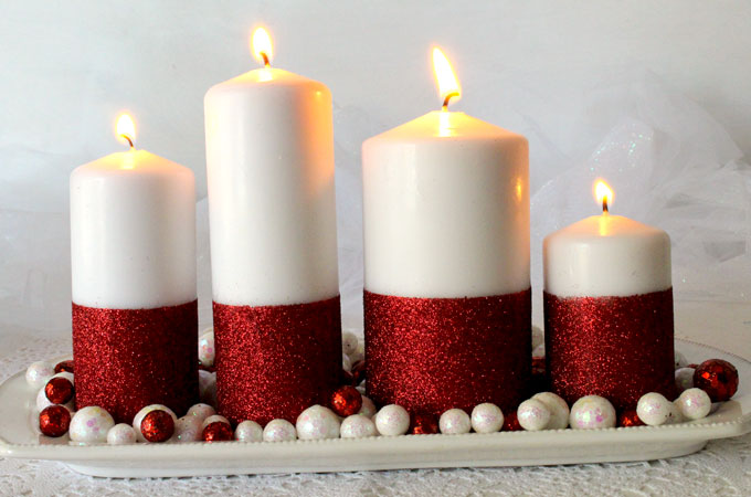 glitter candles easy diy christmas decorations two sisters. Black Bedroom Furniture Sets. Home Design Ideas