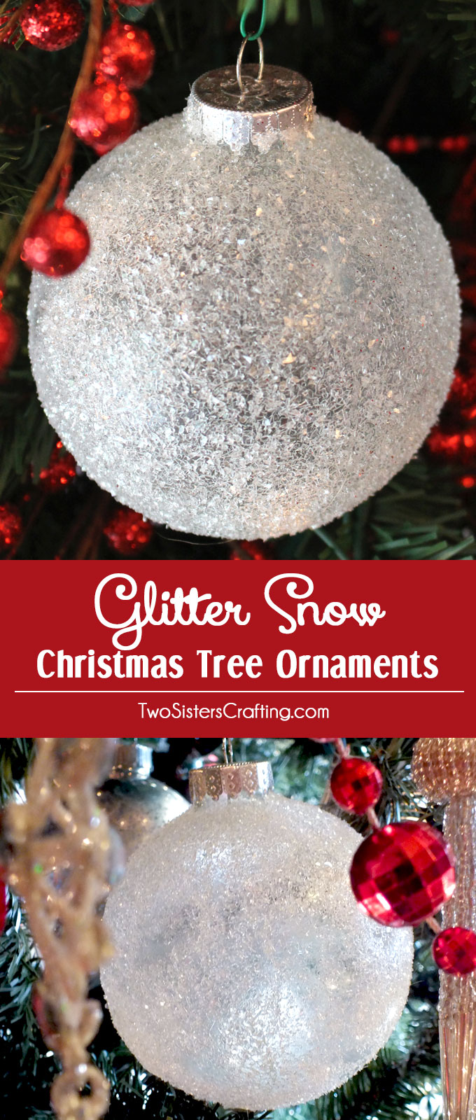 DIY Glitter Snow Ornaments  Two Sisters Crafting