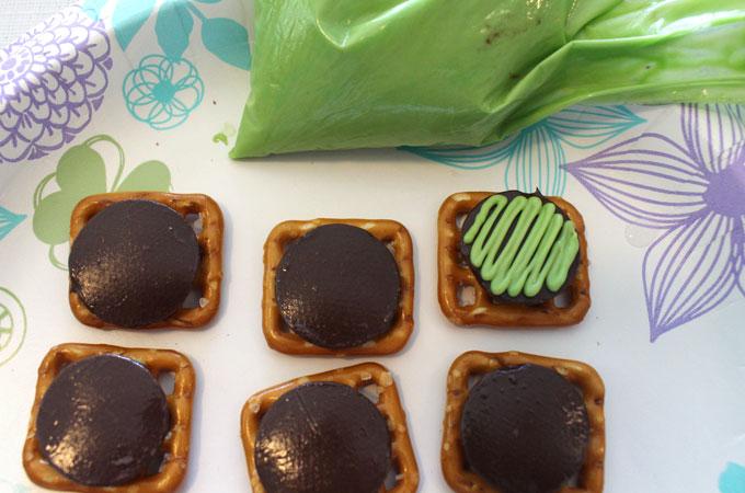 Green candy on the pretzel bites