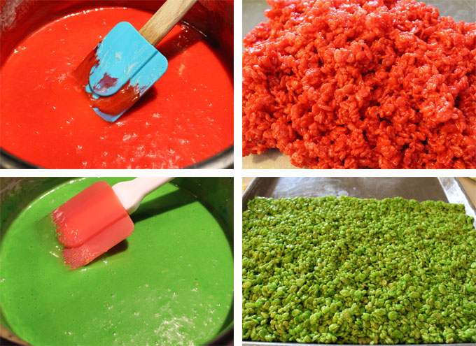 Red and Green Marshmallow Treat Mixture
