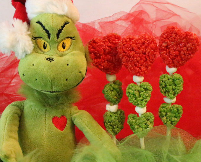Rice Crispy Treat Christmas.Grinch Hearts Rice Krispie Treats