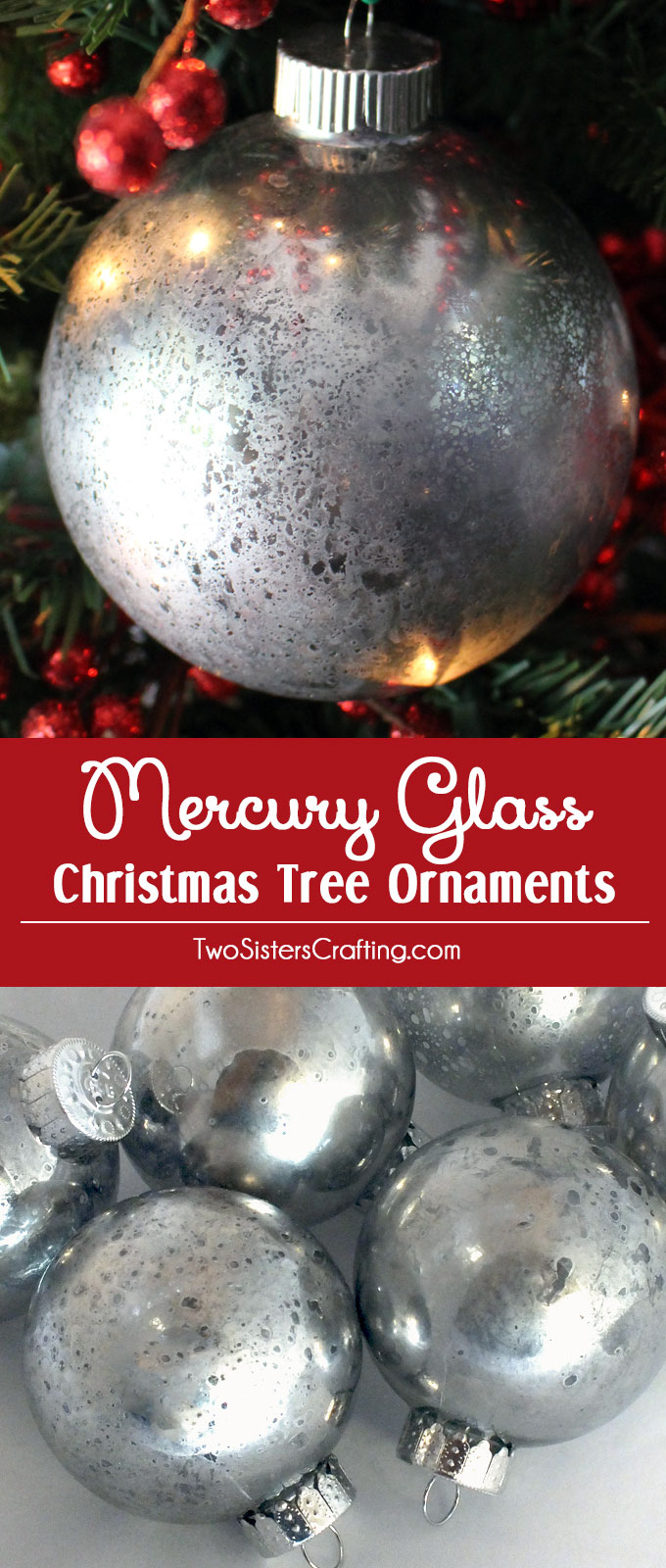 these diy mercury glass christmas tree ornaments are a fun craft that results in wonderfully unique