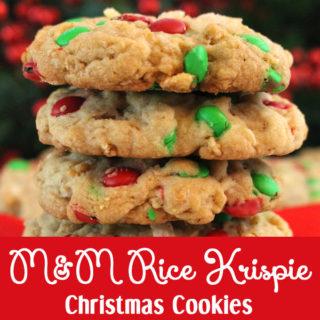 M&M Rice Krispie Christmas Cookies