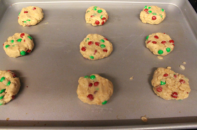 M&M Rice Krispie Christmas Cookie dough ready for baking