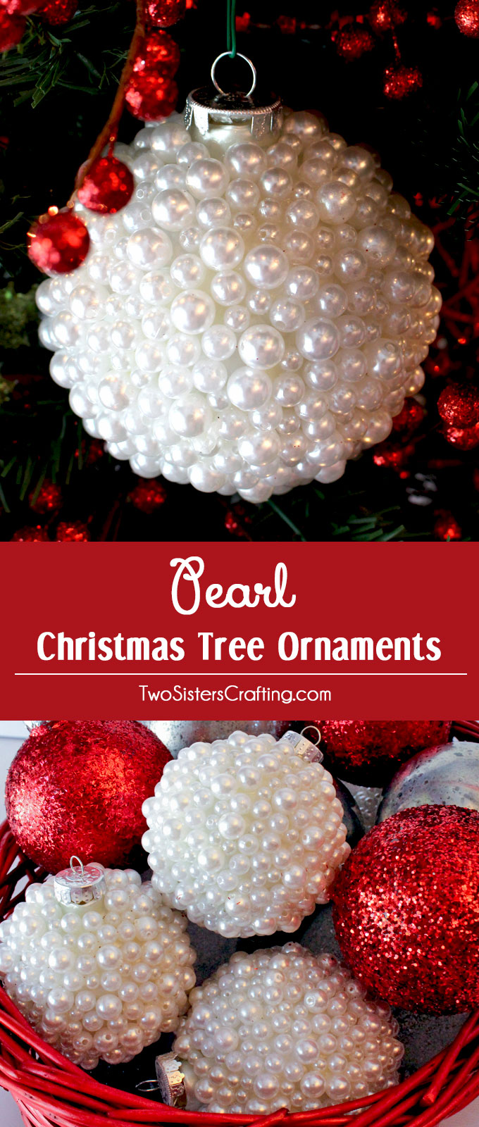 Pearl christmas tree ornaments two sisters these pearl christmas tree ornaments are a fun craft that results in beautifully unique christmas ornaments solutioingenieria Gallery