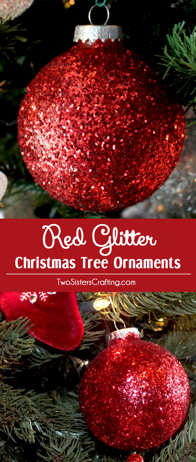 Red glitter christmas tree ornaments two sisters