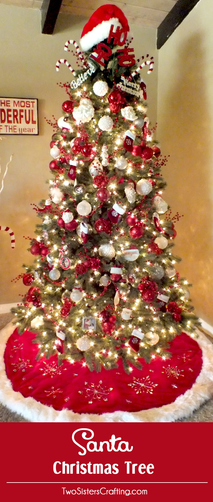 I have finally figured out the perfect formula for Christmas Tree Decorating and I share these tips and tricks in my Santa Christmas Tree decorating tutorial. Follow us us for more fun Christmas Decorating ideas.
