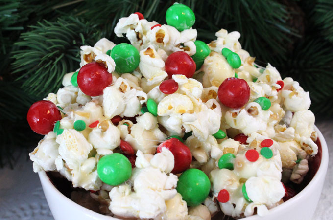 santa crunch popcorn a fun christmas treat sweet salty crunchy and delicious
