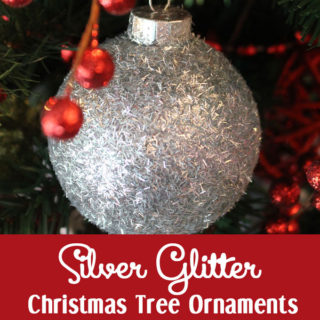 Silver Glitter Christmas Tree Ornaments