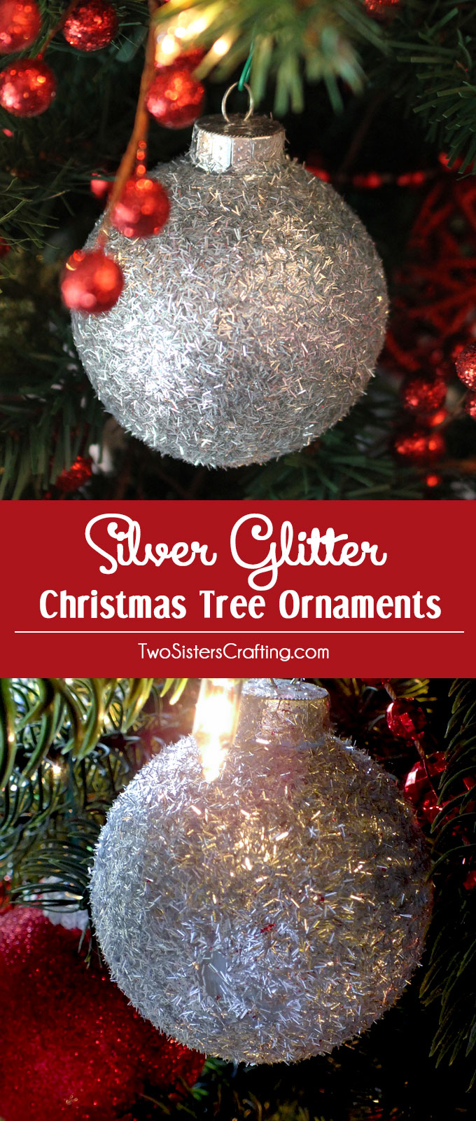 Silver glitter christmas tree ornaments two sisters