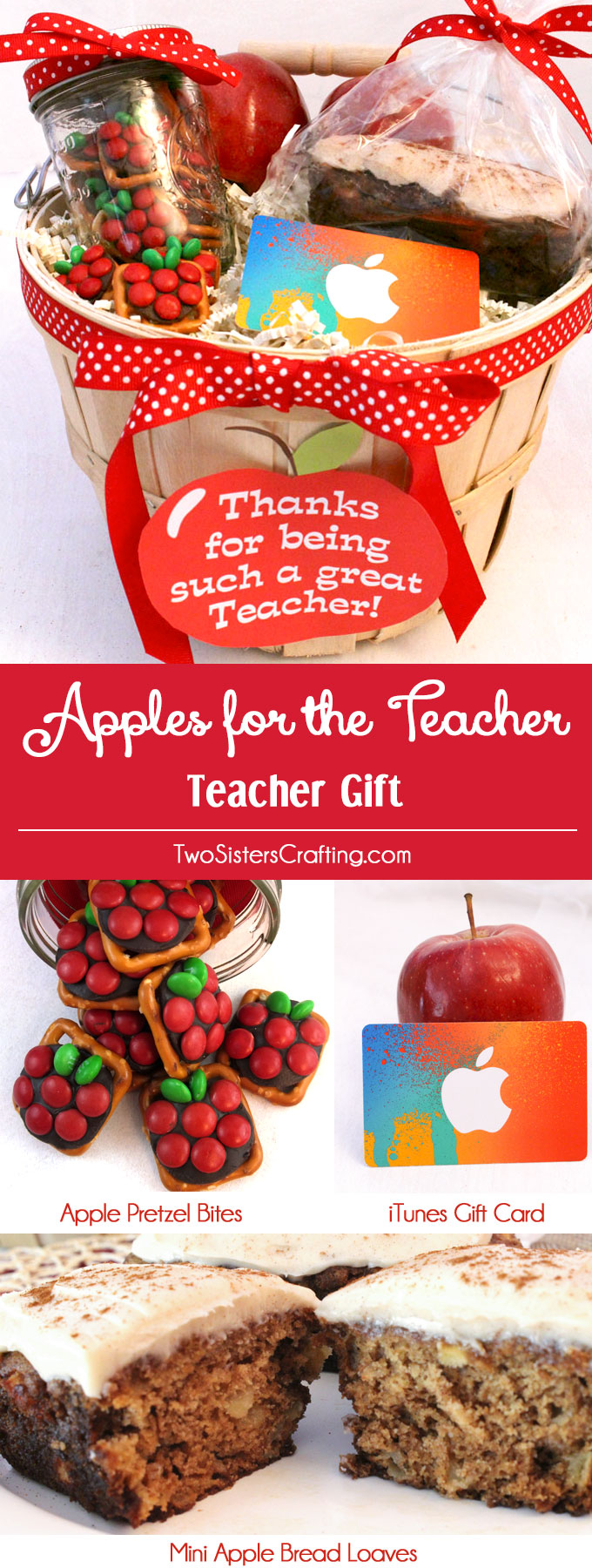If you are looking for a very easy to make DIY Teacher Appreciation Gift try our Apples for the Teacher Gift Basket - chock full with apple themed treats that your child's teacher will love including delicious sweet and salty Apple Pretzel Bites, yummy Mini Apple Bread and a sure to be appreciated Apple iTunes Gift Card. We have all the directions you'll need to put together this fun Teacher Gift. Follow us for more fun DIY Gift ideas.