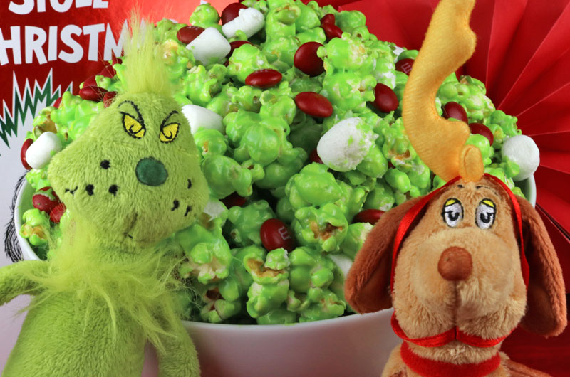 The Original Grinch Popcorn - a fun Christmas Treat that your family will love. Sweet, salty, crunchy, delicious, this Christmas dessert is so very easy to make. It would be a great How the Grinch Stole Christmas family movie night dessert or Christmas Party dessert! Pin this yummy Grinch treat for later and follow us for more fun Christmas Food ideas. #Grinch #GrinchPopcorn #ChristmasTreats #ChristmasDesserts #ChristmasFood #HowTheGrinchStoleChristmas