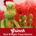 Grinch Rice Krispie Treat Hearts