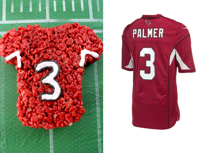Arizona Cardinals Rice Krispie Treat vs. an actual Arizona Cardinals Jersey