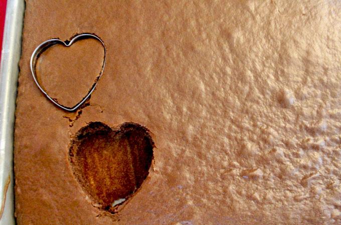 Cut out heart shaped mini cake bites