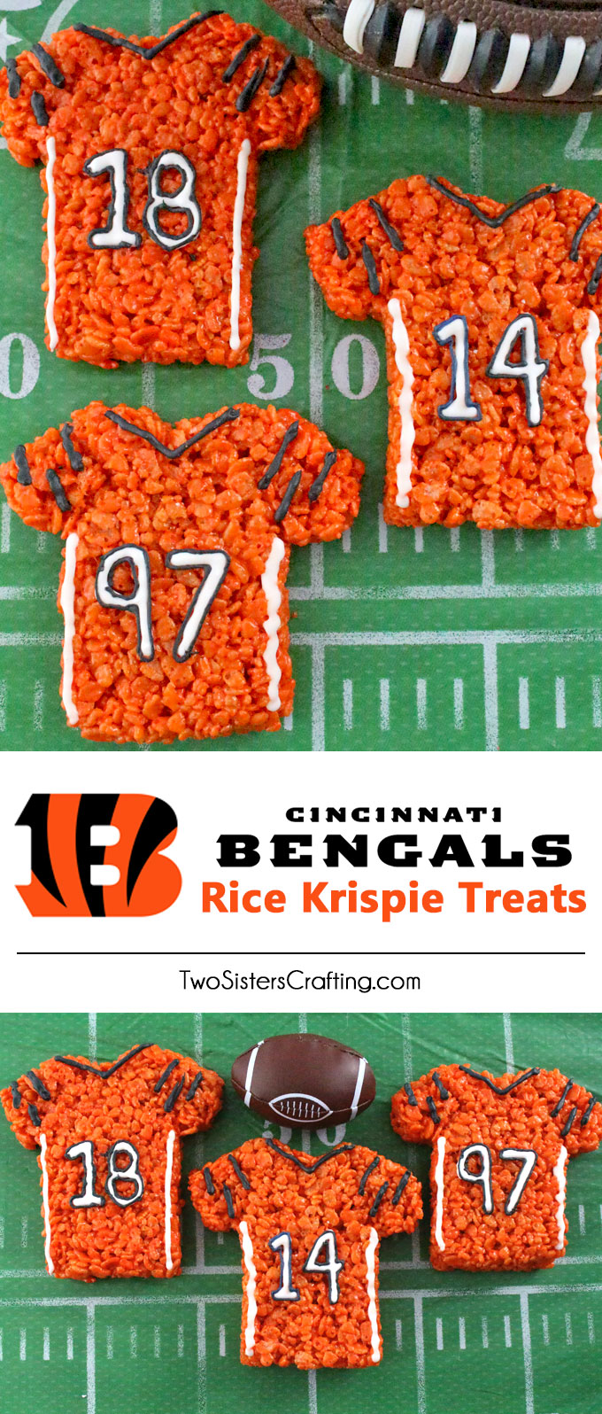 These Cincinnati Bengals Rice Krispie Treats Team Jerseys are a fun football dessert for a game day football party, an NFL playoff party, a Super Bowl party or as a special snack for the Cincinnati Bengals fans in your life. Go Bengals! And follow us for more fun Super Bowl Food Ideas.