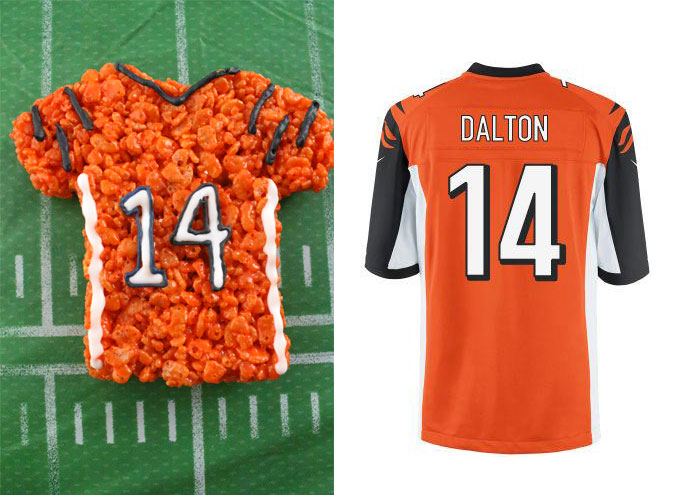 Cincinnati Bengals Rice Krispie Treat vs. an actual Cincinnati Bengals Jersey