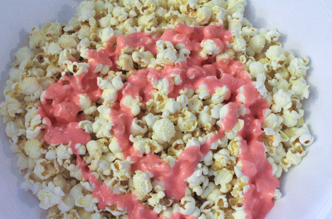 Pour Marshmallow Mixture into the Popcorn