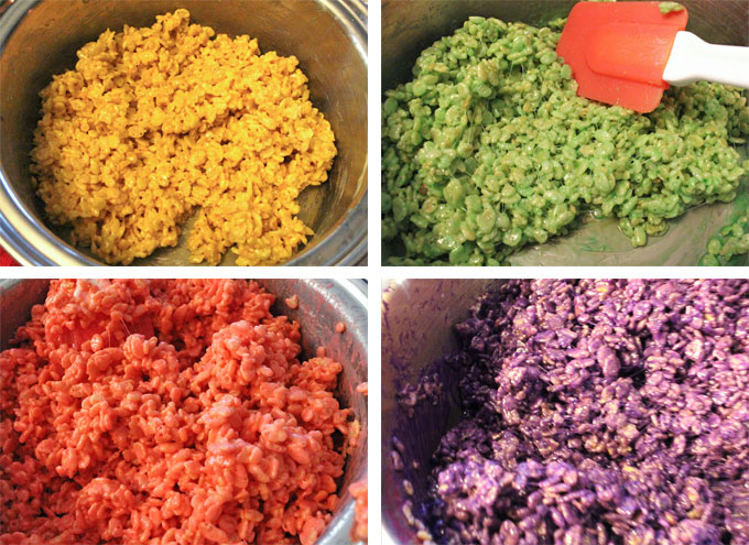 Colored Rice Krispie Treat Mixture for Conversation Hearts Rice Krispie Treats