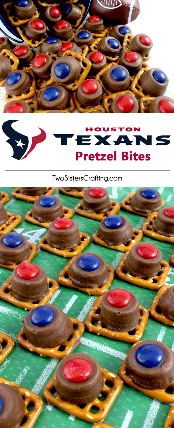 Our easy to make Houston Texans Pretzel Bites are yummy bites of sweet and salty Football Game Day goodness. They are perfect as a little extra treat at a NFL playoff party, a Super Bowl party or as a special dessert for the Houston Texans fan in your life. Follow us for more fun Super Bowl Food Ideas.