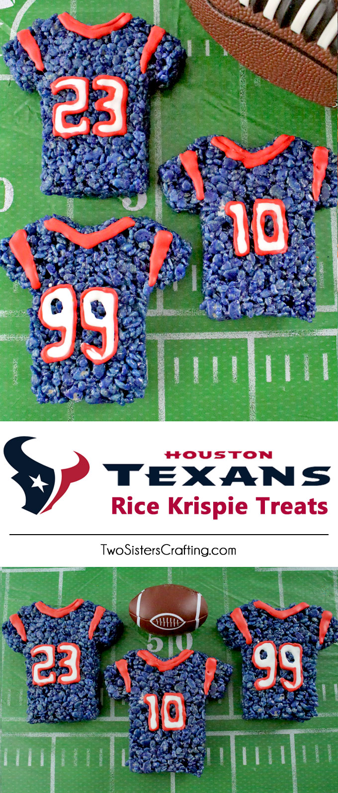 These Houston Texans Rice Krispie Treats Team Jerseys are a fun football dessert for a game day football party, an NFL playoff party, a Super Bowl party or as a special snack for the Houston Texans fans in your life. Go Texans! And follow us for more fun Super Bowl Food Ideas.