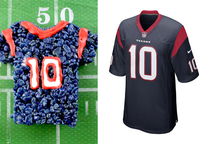 Houston Texans Rice Krispie Treat vs. an actual Houston Texans Jersey