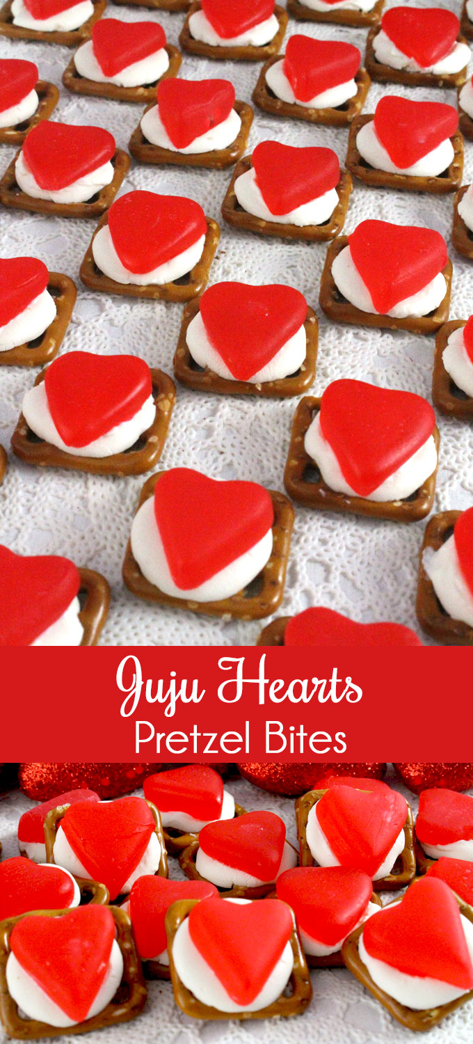 Yummy bites of sweet and salty goodness - our easy to make Juju Hearts Pretzel Bites are the perfect Valentines Day Treat. Iconic Juju Cherry Hearts candy combine with crunchy Pretzels for a unique Valentines dessert. Follow us for more fun Valentines Food Ideas.
