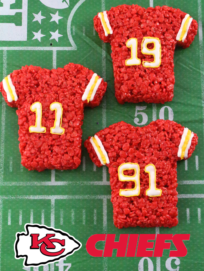 These Kansas City Chiefs Rice Krispie Treats Team Jerseys are a fun football dessert for a game day football party, an NFL playoff party, a Super Bowl party or as a special snack for the Kansas City Chiefs' fans in your life. Go Chiefs! And follow us for more fun Super Bowl Food Ideas.