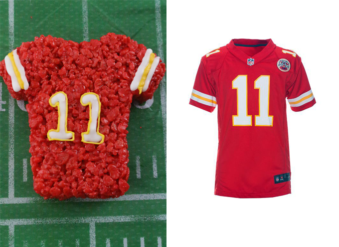 Kansas City Chiefs Rice Krispie Treat vs. an actual Kansas City Chiefs Jersey