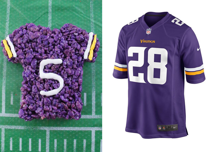 Minnesota Vikings Rice Krispie Treat vs. an actual Minnesota Vikings Jersey
