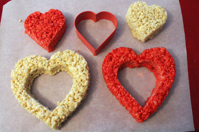 Cut out a smaller heart from the larger Heart Rice Krispie Treat