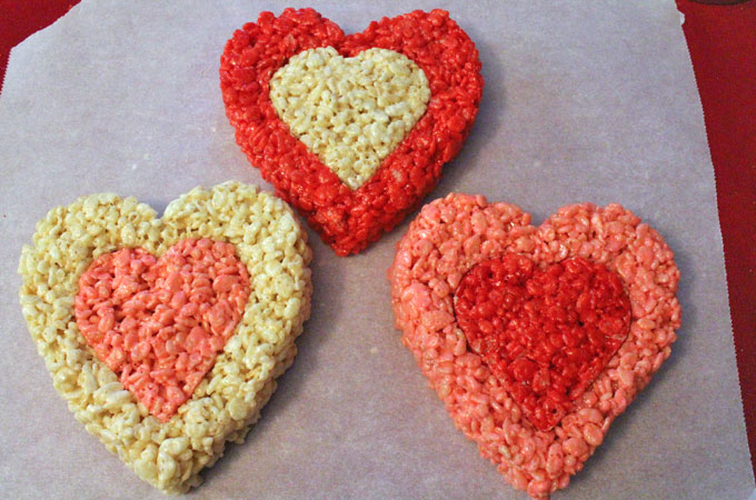 Finishing up the Rice Krispie Treat Valentines