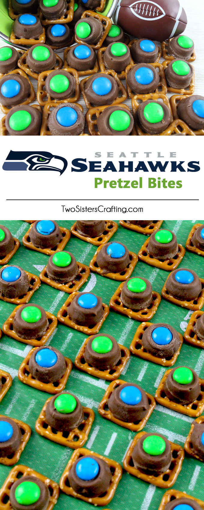 Our easy to make Seattle Seahawks Pretzel Bites are yummy bites of sweet and salty Football Game Day goodness. They are perfect as a little extra treat at a NFL playoff party, a Super Bowl party or as a special dessert for the Seattle Seahawks fan in your life. Follow us for more fun Super Bowl Food Ideas.