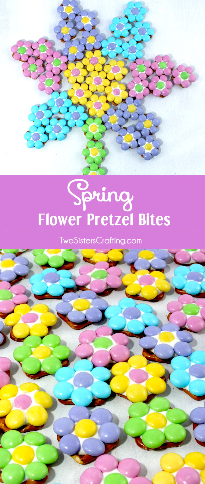 Our Spring Flower Pretzel Bites are so pretty and so easy to make. Sweet, salty, crunchy and delicious - what a great Easter Dessert.  Your guest will beg for more of these colorful Easter Treats. They would also be a great homemade Mother's Day Dessert and Spring treat. Follow us for more fun Easter Food Ideas.