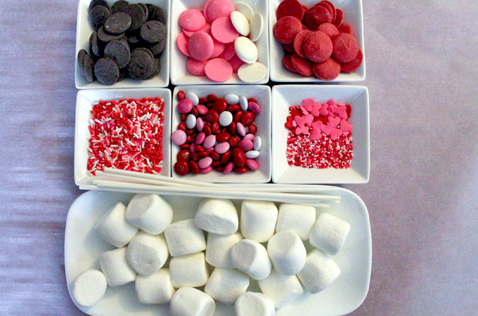 Ingredients for Valentine's Day Marshmallow Wands