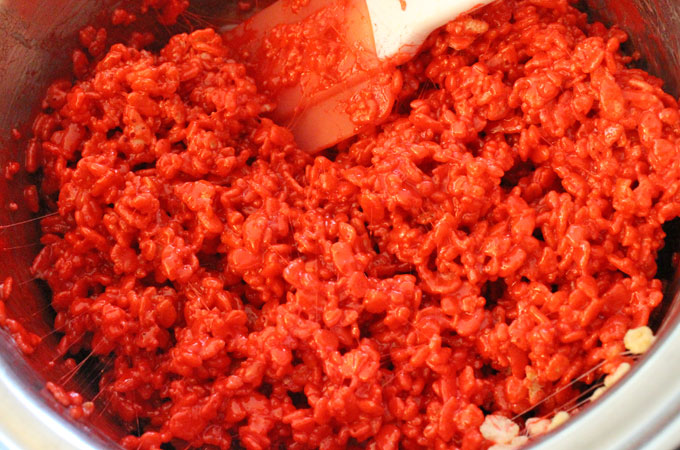 Red Rice Krispie Treat mixture