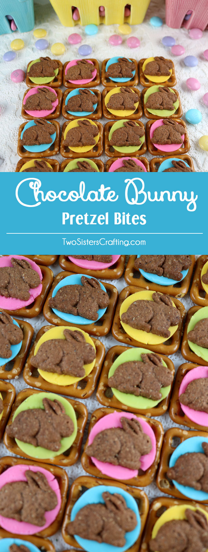 Our easy to make Chocolate Bunny Pretzel Bites are adorable bites of sweet and salty Easter Treat goodness. They are perfect as a little extra Easter Dessert or an anytime springtime snack. Follow us for more fun Easter Food Ideas.