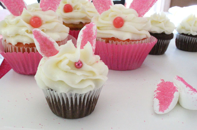 Mini and Regular Sized Bunny Cupcakes