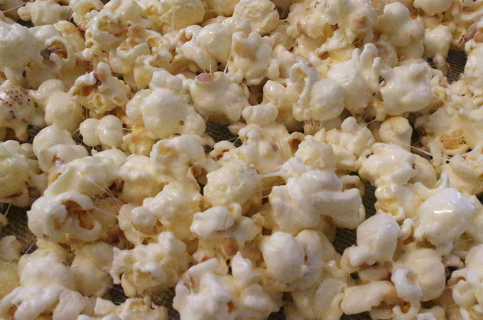 Popcorn covered with Marshmallow Mixture