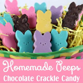 Homemade Peeps Chocolate Crackle Candy