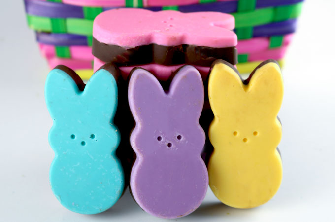Homemade Peeps Chocolate Crackle Candy are so easy to make. What great Easter Treats they are! They look adorable in these pretty springtime colors and they taste great too. This Peeps Easter Candy is going to be a hit in your kid's Easter Baskets.  Follow us for more great Easter Dessert Ideas.