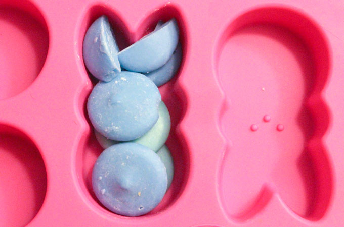 Melt the Candy Melts in the Wilton Peep Mold