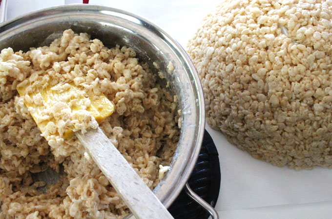 Second layer of Rice Krispie Treat mixture