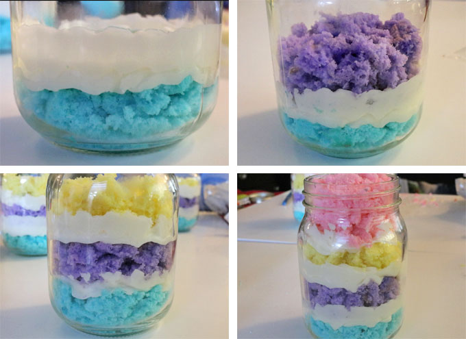 Assembling the Springtime Cupcake in a Jar