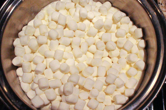 Add marshmallows to the melted butter.