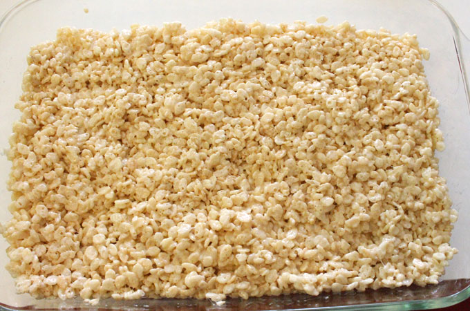 Press the Rice Krispie Treat mixture into the pan