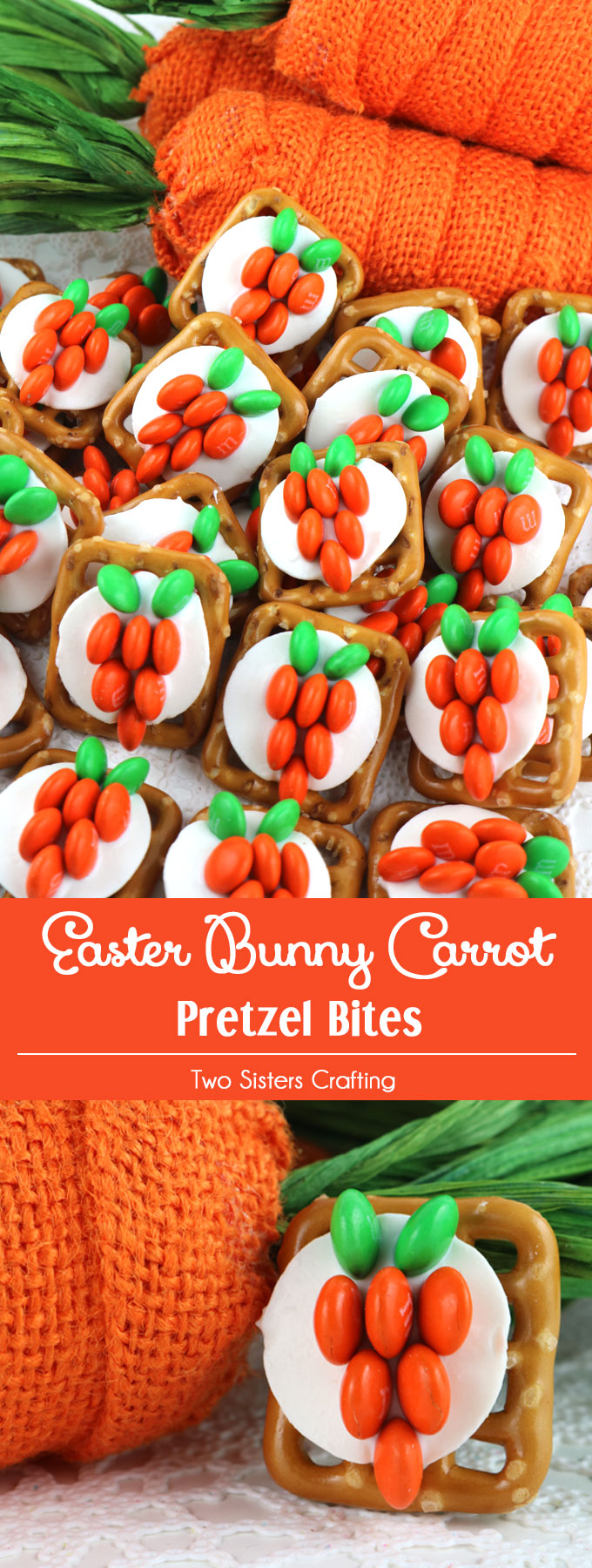 Our easy to make Easter Bunny Carrot Pretzel Bites are yummy bites of sweet and salty Easter Treat goodness. They are perfect as a little extra Easter Dessert or an anytime Spring snack. Follow us for more fun Easter Food Ideas.