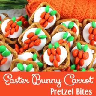Easter Bunny Carrot Pretzel Bites