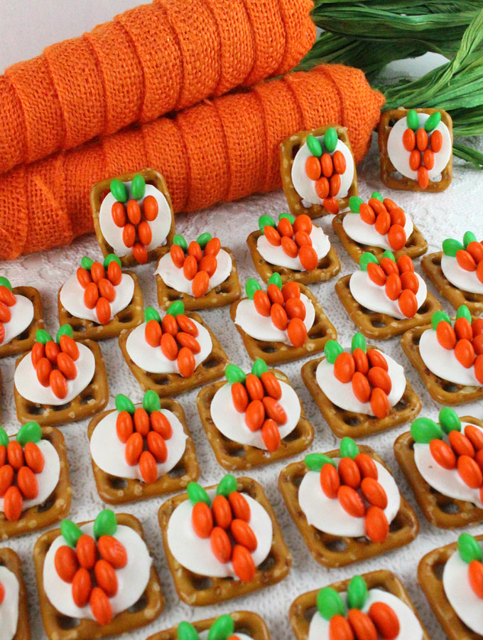 Our Easy To Make Easter Bunny Carrot Pretzel Bites Are Yummy Of Sweet And Salty